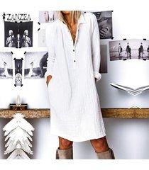 zanzea mujer de manga larga casual llanura de la blusa de botones de cuello largo flojo de la camisa de vestido más del tamaño -blanquecino