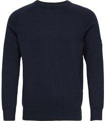 b.intl cotton crw neck stickad tröja m. rund krage blå barbour