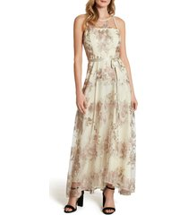 women's tahari embroidered mesh gown