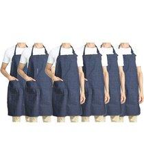 pack de 6 delantales denim algodón con peto nickel - azul