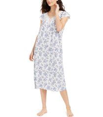 charter club lace-trim floral-print nightgown, created for macy's