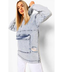 acid wash gebleekte denim hoodie met zakken en rits, ice blue