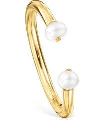 anillo batala de plata vermeil con perla tous