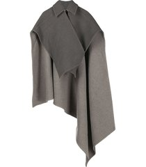 jw anderson cross-wrap double face cape - grey