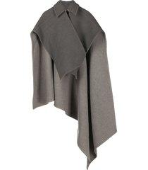 jw anderson cross-wrap double face cape - grey