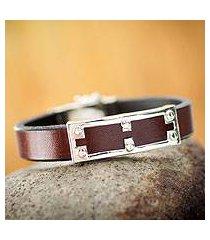 men's leather bracelet, 'wonderer' (peru)