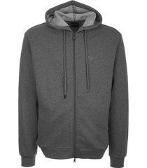 emporio armani zip up hoodie - grigio melange 8n1m151j07z