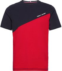 blocked tee t-shirts short-sleeved röd tommy sport