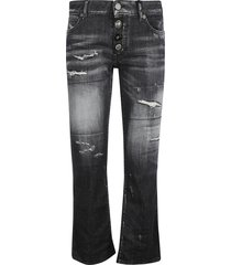 dsquared2 flared cuffs destroyed effect cropped jeans