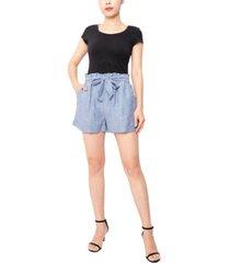 derek heart juniors' paperbag-waist shorts