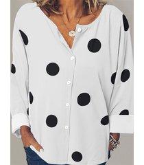 blusa de manga larga con botones de lunares diseño