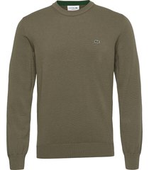 mens sweater stickad tröja m. rund krage grön lacoste