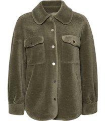 lumber jacket outerwear faux fur grön ravn