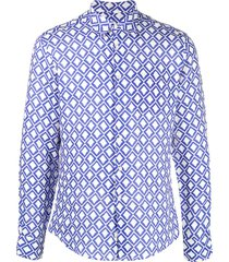 peninsula swimwear teulada geometric print linen shirt - white