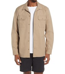 bp. long sleeve utility shirt, size small in tan timber at nordstrom