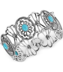 american west turquoise link bracelet (6-2/3 ct. t.w.) in sterling silver