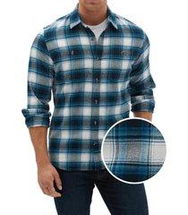 camisa franela azul gap
