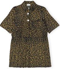 crispy jacquard dress in olive drab