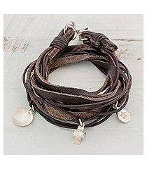 fine silver and leather wrap bracelet, 'stellar imprint' (guatemala)