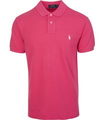 man bright pink and white slim-fit pique polo shirt