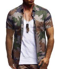 camisa casual de verano con botones de algodón para hombres, camuflaje multicolor