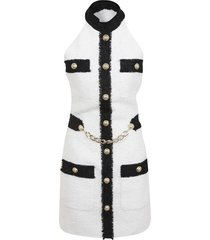 balmain white and black tweed dress