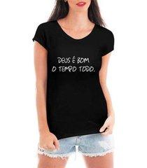 blusa criativa urbana deus é bom religiosa t-shirt feminina