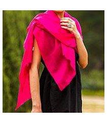 wool shawl, 'magenta glamour' (india)