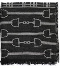elisabetta franchi jacquard cape with logo and tartan design