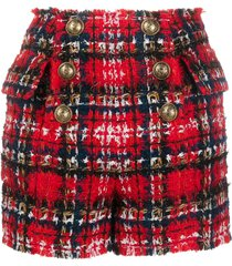 balmain frayed check tweed shorts - red