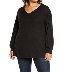 plus size women's caslon long sleeve knit top, size 2 x - black