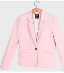 blazer io liso satinado rosa - calce ajustado