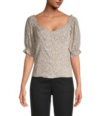 lucca women's ava printed puff-sleeve top - beige floral - size s