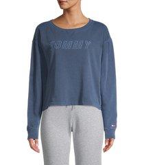 tommy hilfiger sport women's logo sweatshirt - deep blue - size s