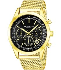 stuhrling original men's quartz chronograph date watch, gold tone alloy case, black dial, gold tone stainless steel mesh bracelet