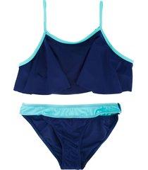 duskii girl darcy frill crop bikini set - blue