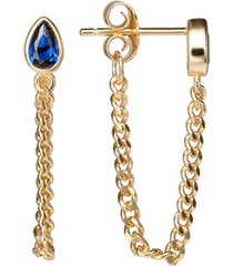 blue cubic zirconia chain earrings in 18k gold over sterling silver