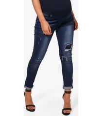 positiekleding skinny jeans met gescheurd detail, donkerblauw