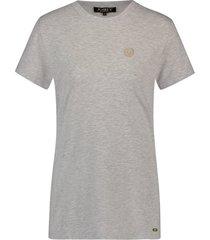 josh v t-shirt model zoe kleur grey met goudkleurig logo