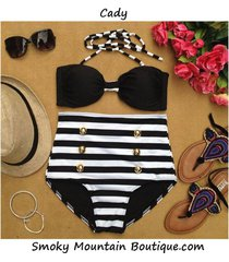 cady retro high waist swimsuit (black top and black & white stripped bottom) s/m