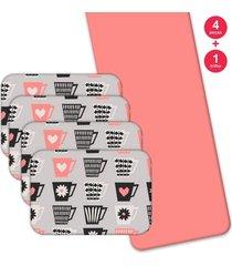 jogo americano love decor  com caminho de mesa wevans love xícaras kit com 4 pçs + 1 trilho