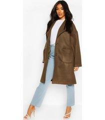 brushed wool look oversized longline coat, olive