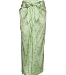 silk stretch satin lång kjol grön ganni