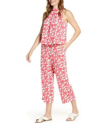 women's leota skyler crop jumpsuit, size x-large - pink