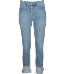 jeans met omgeslagen broekspijpen stone  blauw