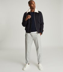 reiss rivet - wool blend bomber jacket in navy, mens, size xxl