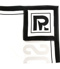 moschino embroidered-edge logo scarf - black