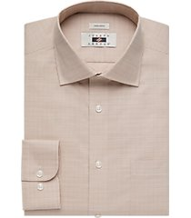 joseph abboud taupe check dress shirt