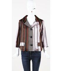 marni multicolor mixed print silk blazer pink/multicolor sz: m