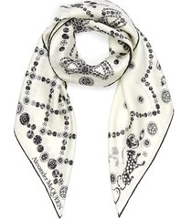 jewel motif m logo silk scarf